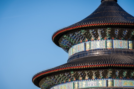Detailed closeup of the architecture at the Temple of Heaven\ in Beijing, China