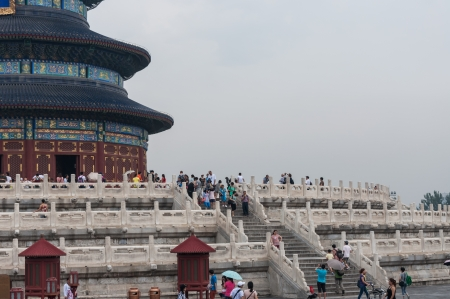 Tourists flock to the Temple of Heaven in Beijing, China
