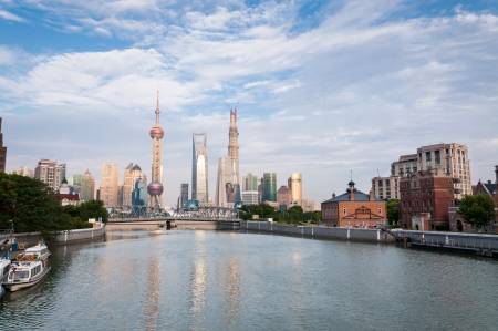 pudong district: The skyline of Shanghai as seen from across the Huangpu River