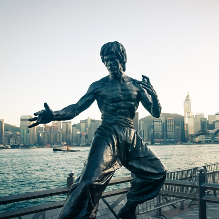 The statue of Bruce Lee that stands along Victoria Harbor, taken on December 28, 2012 in Hong Kong, China