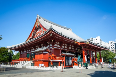 sightseers: Tourists and sightseers move around in a blur at Sensoji Temple in Tokyo, Japan