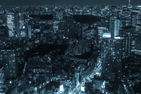 The cityscape of Tokyo at night in cold blue tones. photo