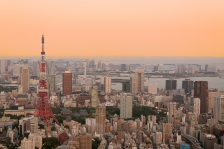 iconic: Tokyo Tower at dusk with the moon rising.