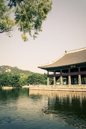 south east: The moat that surrounds one of the pavilions at Gyeonbokgung Palace in Seoul, South Korea.
