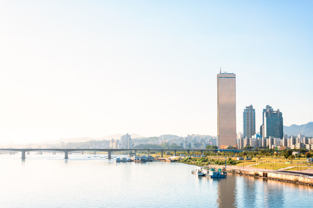 seoul: The skyline of Seoul and the Han River  Stock Photo
