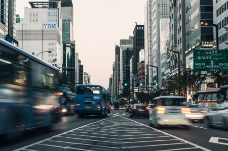 Evening traffic speeds through the Gangnam district in Seoul, South Korea  Editorial
