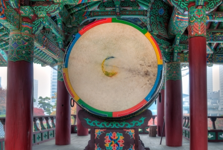 An enormous traditional drum at Bongeunsa Temple in Seoul, South Korea  photo