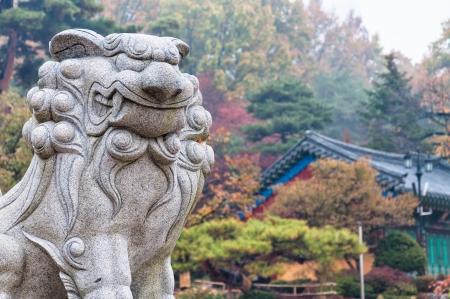 south korea: A statue of a creature at Bongeunsa Temple in Seoul, South Korea  Stock Photo