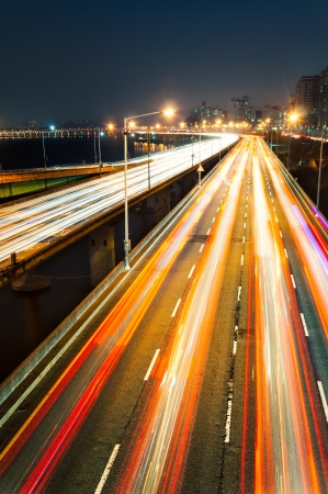 Night traffic speeds through Seoul, South Korea  Stock Photo