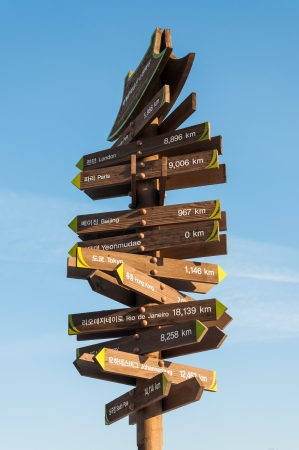 A sign post in Suwon, South Korea, points out the distances to capitals around the world  photo
