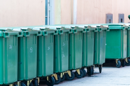 A row of garbage bins in an alleyway in Singapore
