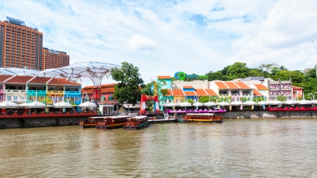 Clarke Quay is a popular tourist attraction in Singapore  Editorial