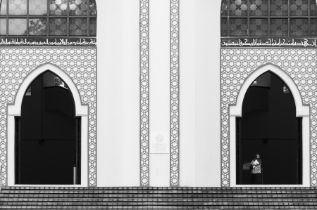 exits: A muslim woman exits the National Mosque of Malaysia on December 27, 2013 in Kuala Lumpur, Malaysia