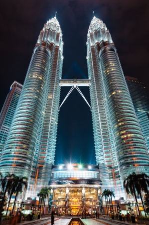 The Petronas Twin Towers lit up at night