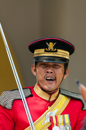 negara: A royal guard outside the gates of the new Istana Negara  national palace  on December 27, 2013 in Kuala Lumpur, Malaysia