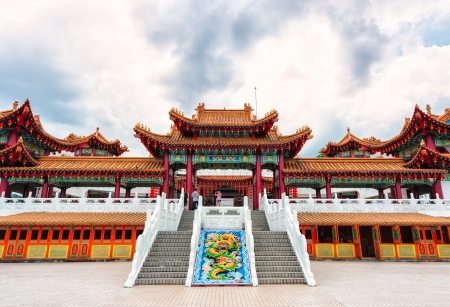 chinatown: The ornate architecture at Thean Hou Temple in Kuala Lumpur, Malaysia. Stock Photo