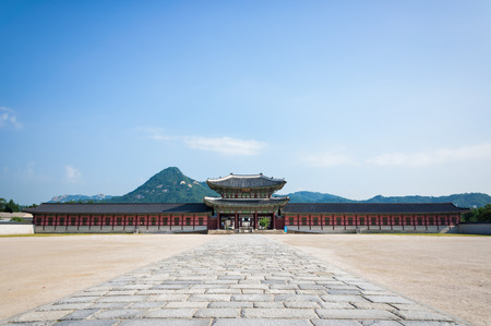 One of the gates at Gyeongbokgung Palace in Seoul, South Korea