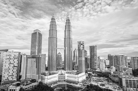 The towers of central Kuala Lumpur, with the Petronas Towers figured prominently.