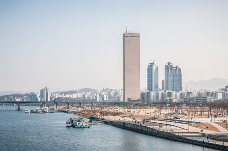 seoul: The skyline of the Yeouido business district in Seoul, South Korea  Editorial