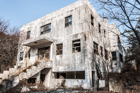 The exterior of Gonjiam Psychiatric Hospital in South Korea  The building was abandoned nearly twenty years ago, but never demolished