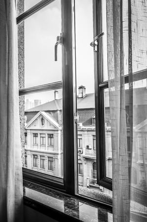 open window: An open window in black and white  Stock Photo