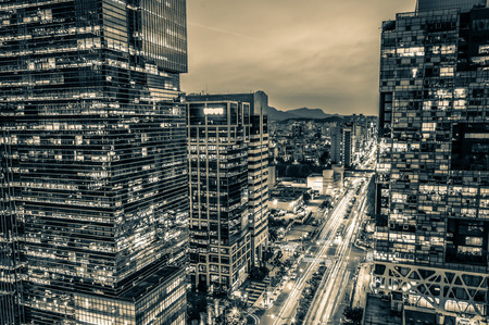 The skyscrapers of Gangnam at sunset in Seoul, South Korea  photo