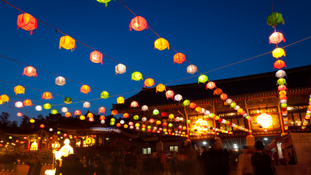 bongeunsa: Paper lanterns lit up at Bongeunsa Temple during Buddhas birthday in Seoul, South Korea. Editorial