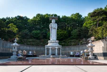 bongeunsa: A giant Buddha statue overlooks downtown Seoul from Bongeunsa Temple