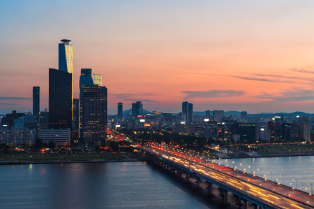 down lights: The Seoul skyline at sunset, looking toward the Yeouido business district