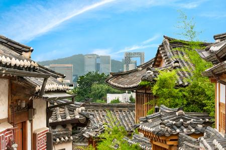 The traditional Korean architecture of Bukchon Hanok Village in Seoul, South Korea.