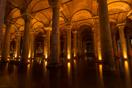 Endless columns at the Basilica Cistern in Istanbul, Turkey