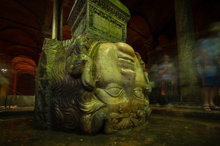 cistern: A Medusa head supports a column at the Basilica Cistern in Istanbul  Stock Photo