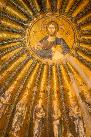 chora: An ancient mosaic of Jesus Christ and his disciples adorns one of the domes at Chora Church in Istanbul, Turkey