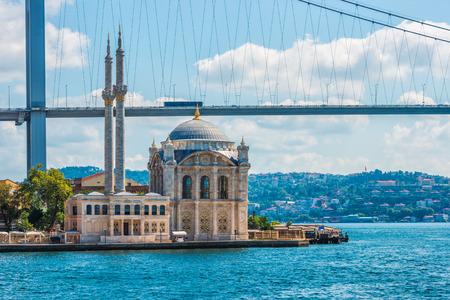 bosphorus: Ortakoy Mosque on the banks of the Bosphorus, with the Bosphorus Bridge in the background. Stock Photo