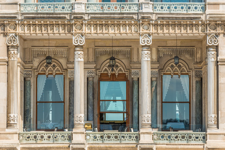 portico: Close up architectural detail of one of the many palaces that line the Bosphorus River in Istanbul.