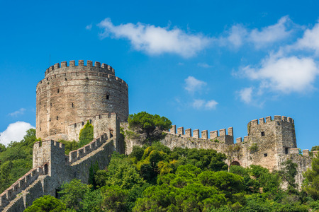 rumeli: One of the towers of Rumeli Fortress overlooks the Bosphorus Strait in Istanbul, Turkey. Stock Photo