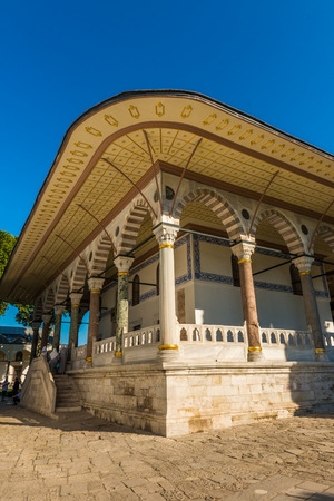 portico: Architectural detail of Topkapi Palace in Istanbul, Turkey  Editorial