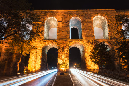 istanbul night: The Valens Aqueduct of Istanbul lit up at night.