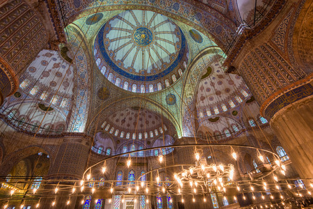 Traditional Islamic architecture on display within the Blue Mosque of Istanbul.