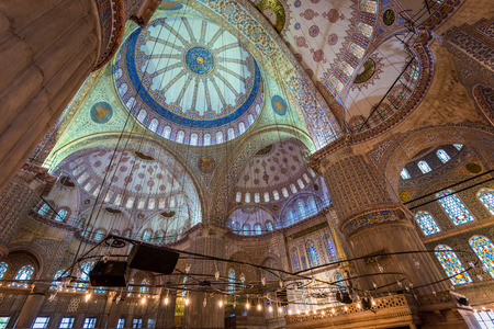 sacrosanct: Traditional Islamic architecture on display within the Blue Mosque of Istanbul. Editorial