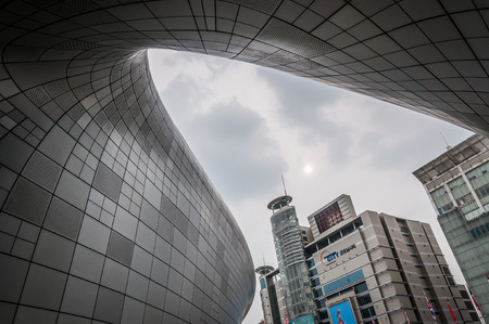 curving lines: Modern architecture at the Dongdaemun Design Plaza. Photo taken August 24, 2014 in Seoul, South Korea.