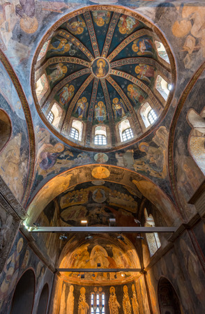 chora: The interior of Chora Church, decorated with frescoes and mosaics of Christ and his disciples. Photo taken August 1, 2014 in Istanbul, Turkey. Editorial