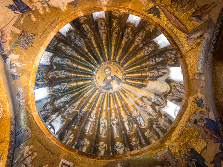 adorn: Ancient mosaics of Jesus Christ and his disciples adorn one of the domes of Chora Church. Photo taken August 1, 2014 in Istanbul, Turkey.