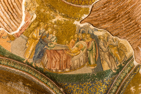 lame: An ancient crumbling mosaic at Chora Church portrays Jesus healing a lame man. Photo taken August 1, 2014 in Istanbul, Turkey. Editorial