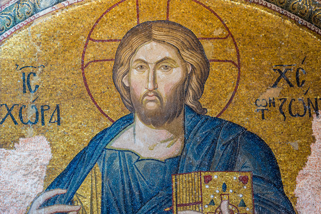 chora: An ancient crumbling mosaic of Jesus at Chora Church. Photo taken August 1, 2014 in Istanbul, Turkey. Editorial