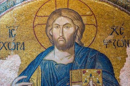 chora: Un mosaico antiguo en ruinas de Jes�s en la iglesia de Chora. Foto tomada 01 de agosto 2014 en Estambul, Turqu�a.