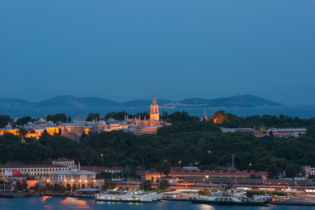 topkapi: Topkapi Palace lit up at night in Istanbul, Turkey.