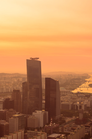Dusk settles over the skyscrapers of the Yeouido business district in Seoul, South Korea.