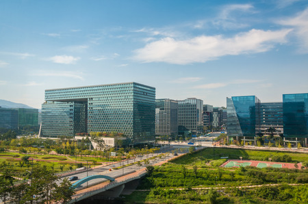 The business district of Pangyo, a new urban development just outside of Seoul, South Korea.