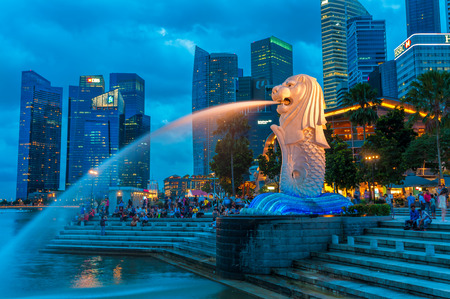 The Merlion fountain lit up at night on December 22, 2013 in Singapore.